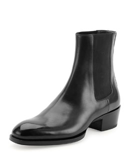 Chelsea Boot with Western Heel, Black