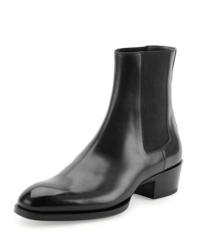 Chelsea Boot with Western Heel, Black