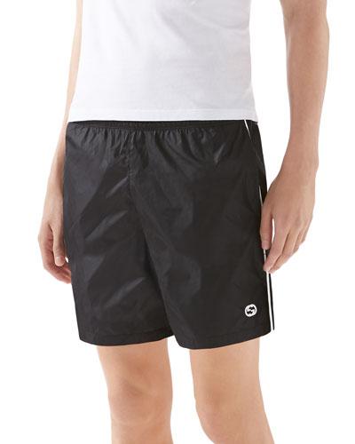 Technical Nylon Swim Shorts, Black