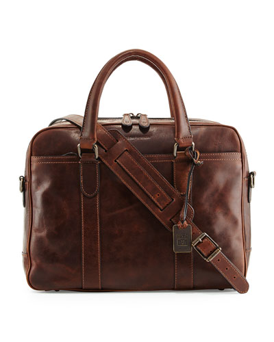 Logan Leather Briefcase, Dark Brown
