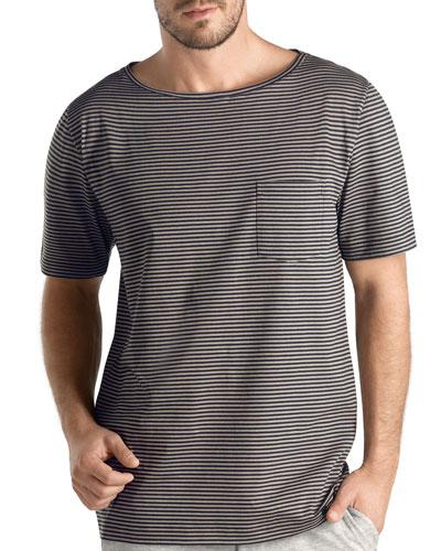 Torino Short-Sleeve Striped Pajama Shirt, Light Brown