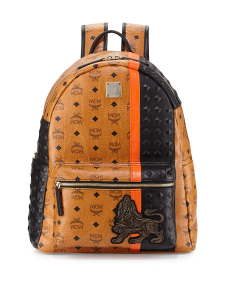MCM Munich Lion Backpack, Cognac