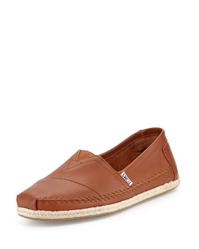 Classic Full-Grain Leather Rope-Sole Slip-On, Cognac