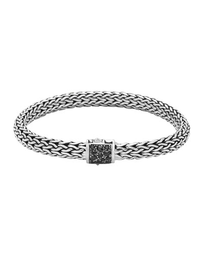 Men's Classic Chain Silver Lava Medium Bracelet with Black Sapphire