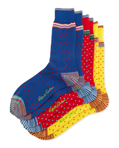 Samba 3-Pack Pattern Socks, Blue/Red/Yellow