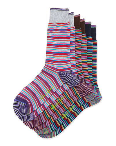 Mamnuca 3-Pack Striped Socks, Navy/Brown/Gray
