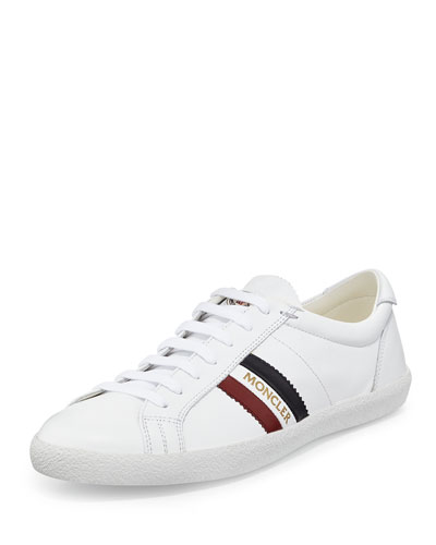 Monaco Striped Leather Low-Top Sneaker, White