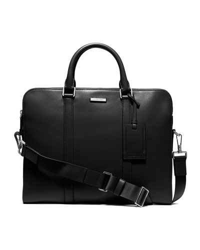 Double-Zipper Briefcase, Black