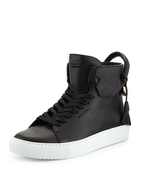 Buscemi 125mm High-Top Leather Sneaker with Padlock, Black/White
