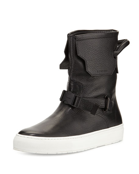 Buscemi 250mm Leather Boot, Black/White