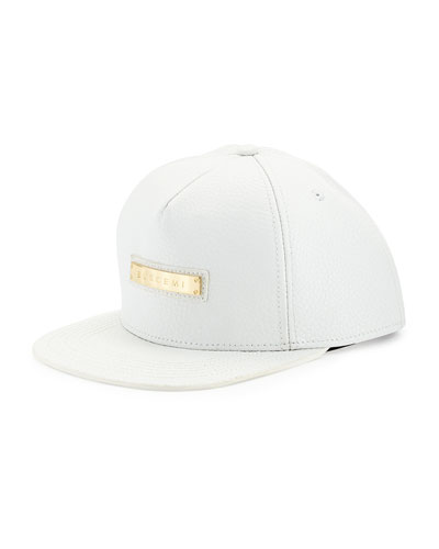 Leather Screwback Cap, White