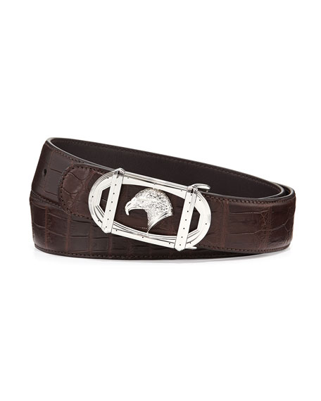 Eagle-Head Crocodile Belt, Brown