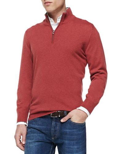 2-Ply Cashmere Half-Zip Pullover, Maroon