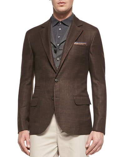 Glen Plaid Jacket, Brown