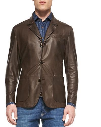 Leather Three-Button Blazer, Dark Brown
