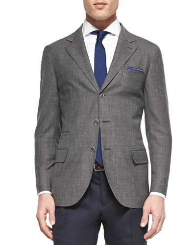 Wool-Blend Flamed Blazer, Gray