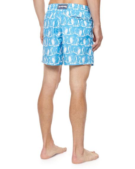 Vilebrequin Mahina Penguin-Print Swim Trunks, Light Blue