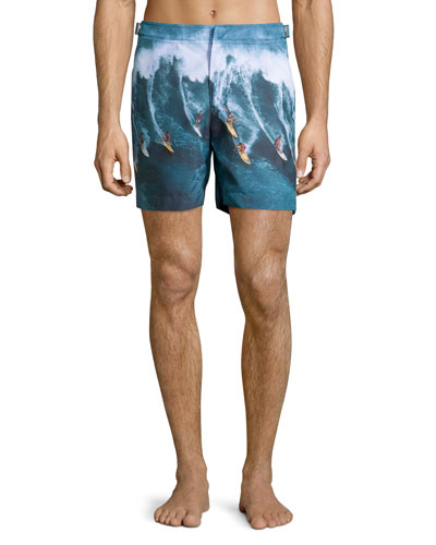 Bulldog Mid-Length Surfer Print Swim Trunks, Multi