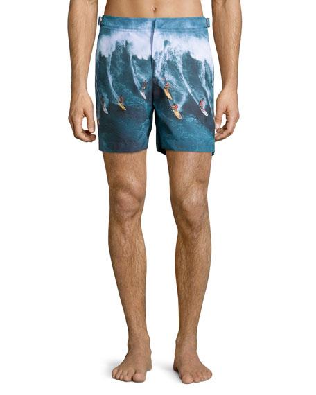 Bulldog Mid-Length Surfer Print Swim Trunks, Multi