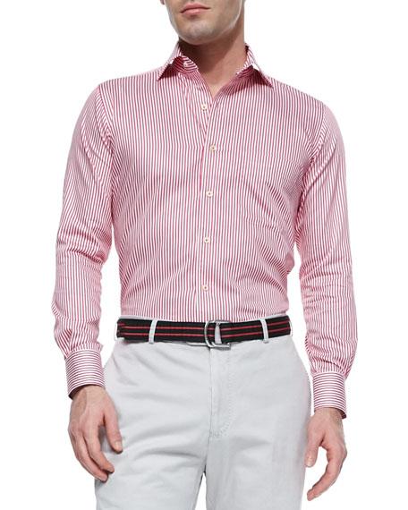 Peter Millar Pick-Stitched Striped Sport Shirt, Pink
