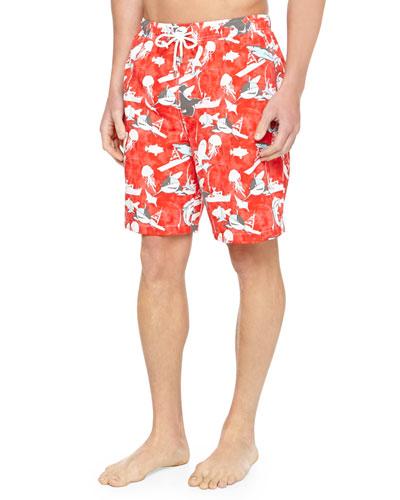 Shark-Print Swim Trunks, Red