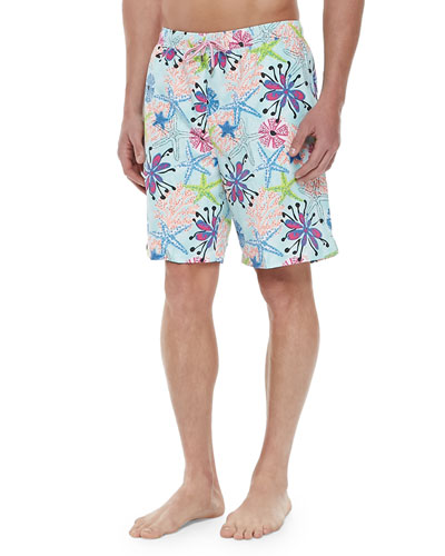 Starfish-Print Swim Trunks, Blue