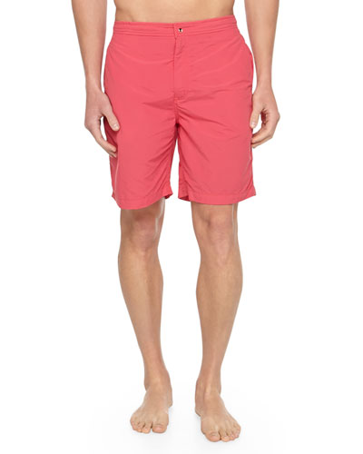 Solid Zip Swim Trunks, Red