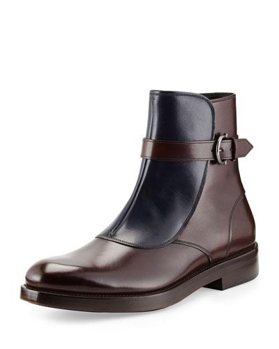 Salvatore Ferragamo Power Two-Tone Leather Boot, Brown/Blue