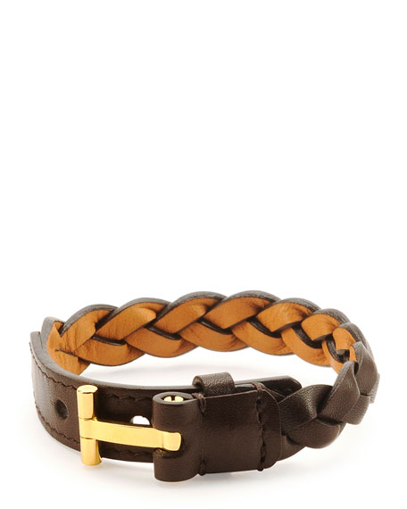 TOM FORD NASHVILLE MEN'S BRAIDED LEATHER BRACELET, LIGHT BROWN, RUST BROWN
