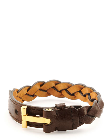Nashville Men's Braided Leather Bracelet, Light Brown