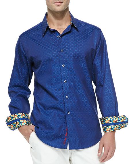 Robert graham tidepool long sleeve sport shirt blue for Robert graham tall shirts
