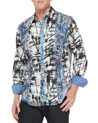 Gia Abstract-Print Sport Shirt, Blue