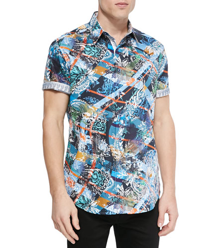 Fair Wind Abstract-Print Short-Sleeve Shirt, Multi