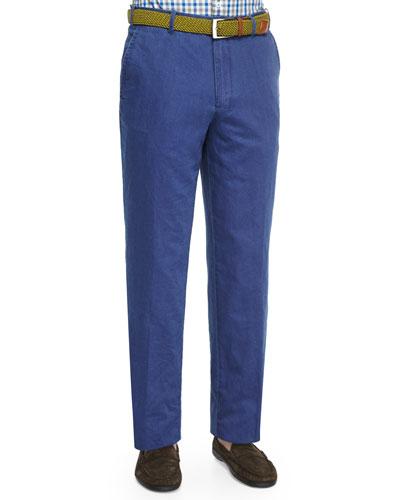Linen Double-Faced Pants, Blue