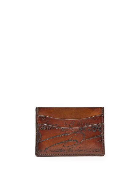 Scritto Leather Card Case, Brown