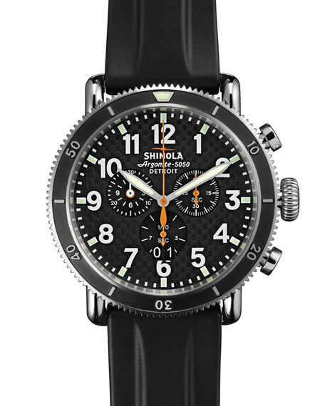 Shinola48mm Runwell Sport Chronograph Watch with Rubber Strap,