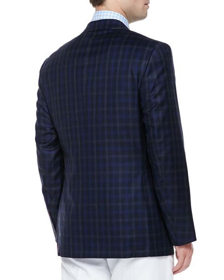Wool/Silk Plaid Sport Coat, Blue
