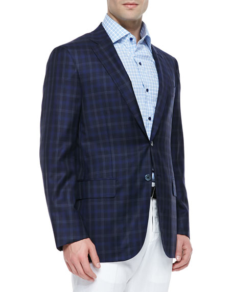 Isaia Wool/Silk Plaid Sport Coat, Blue