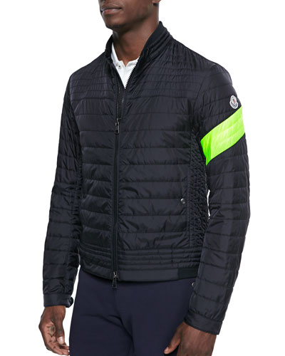 Quilted Front-Zip Jacket, Black