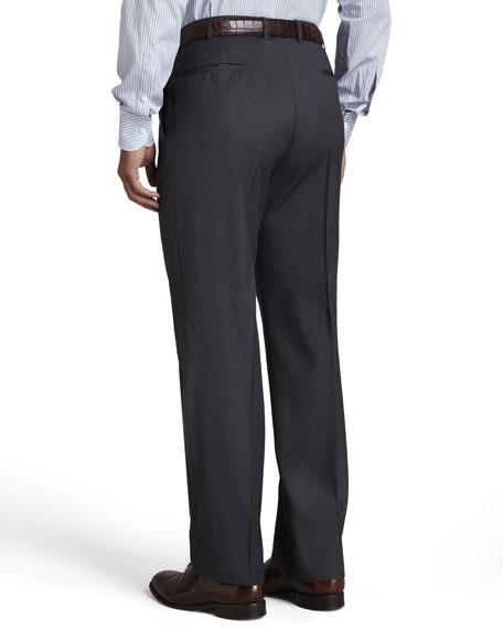 Serge Flat-Front Pants, Gray