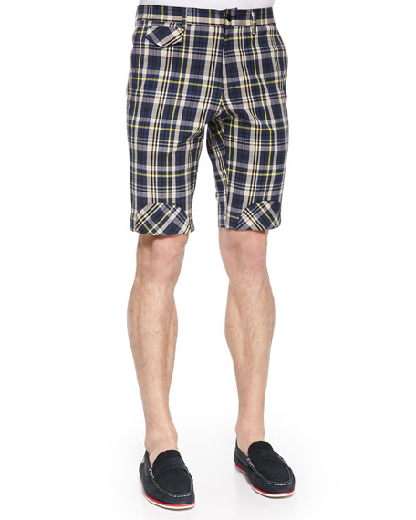 Band Of Outsiders Plaid Shorts with Bias Patches