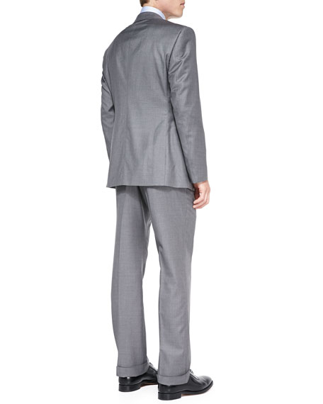 Wall St. Wool/Cashmere Suit, Light Gray