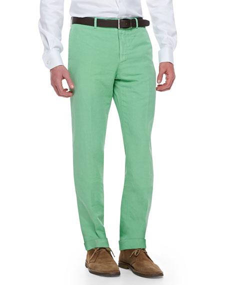Incotex Chinolino Cotton/Linen Trousers, Apple Green