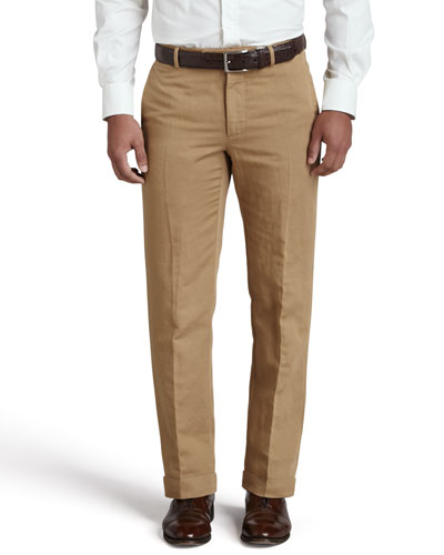 Chinolino Cotton/Linen Trousers, Khaki
