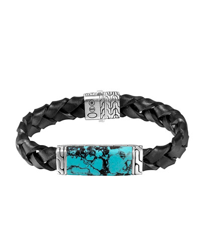 Woven Station and Turquoise Stone Bracelet