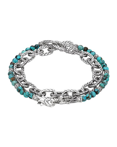 Turquoise with Black Matrix & Chain Wrap Bracelet
