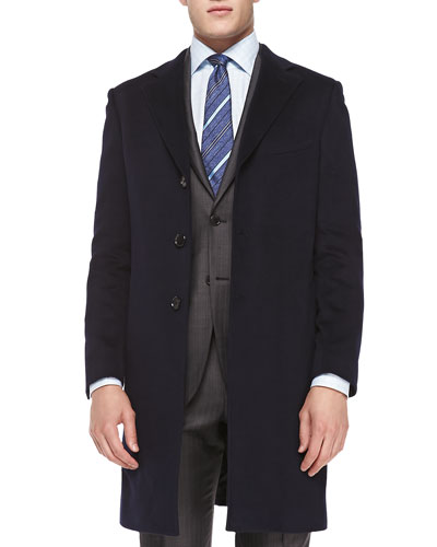 Cashmere Rainsystem Overcoat, Navy