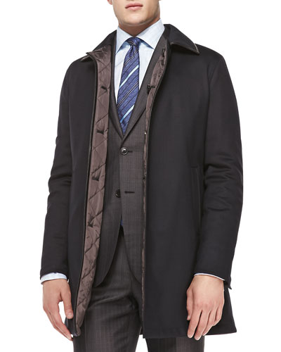 Reversible Single-Breasted Coat, Navy