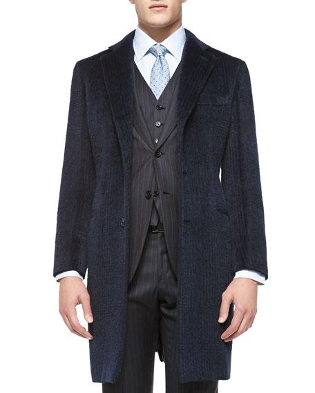 Brioni Tonal-Plaid Mohair/Wool Overcoat