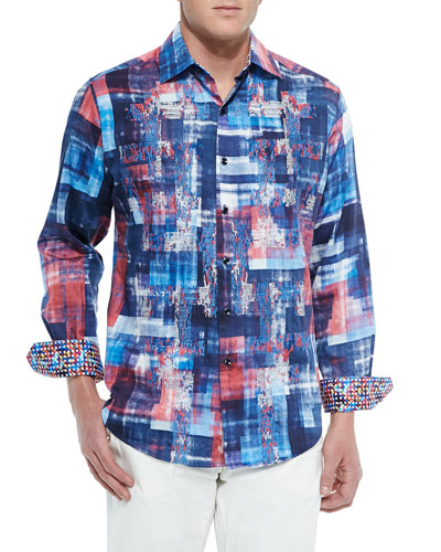 Long-Sleeve Graphic Picnic Sport Shirt, Blue